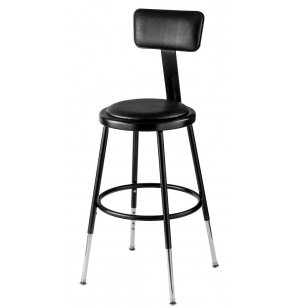 Adjustable Padded Metal Lab Stool with Backrest
