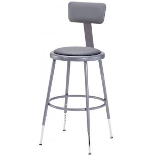 NPS Adjustable Padded Metal Lab Stool with Backrest
