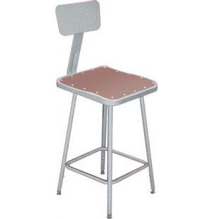 NPS Adjustable Square Metal Lab Stool with Backrest