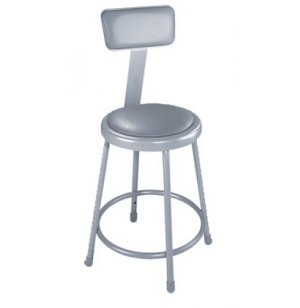 NPS Padded Metal Lab Stool with Backrest