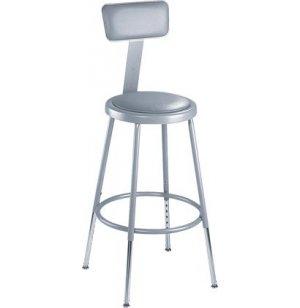 Adjustable Padded Metal Lab Stool with Backrest