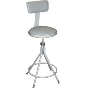 Adjustable Padded Metal Swivel Lab Stool w/ Backrest