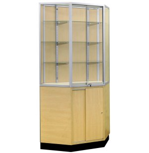 Mirror-Back Corner Wall Display Case