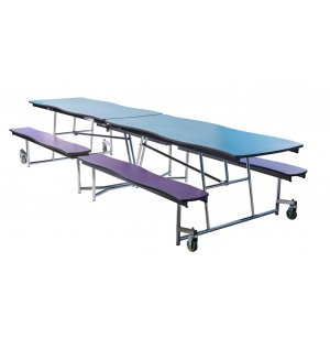 Swerve Cafeteria Bench Table - 12', Plywood, Chrome Frame