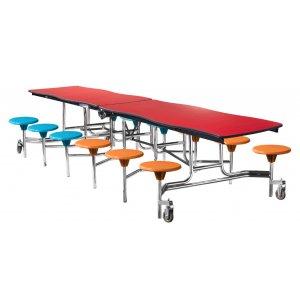 NPS Swerve Cafeteria Stool Table - 12', Chrome Frame