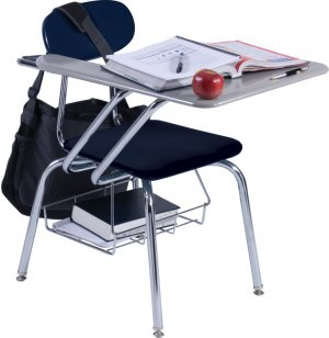 Hard Plastic Tablet Arm Chair Desk - WoodStone Top
