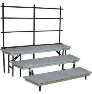 Trans-Port 3-Level Tapered Folding Riser with Guard Rail