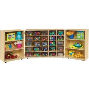 Mobile Tri-Fold Cubby Storage w/ 25 Clear Cubby Bins