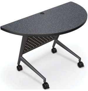 Half Round Trend Fliptop Training Table, Black Frame