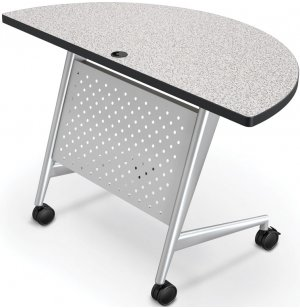 Half Round Trend Fliptop Training Table, Silver Frame