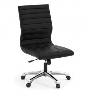 Tre Light Leather Armless Mid-Back Chair