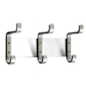Wall Coat Rack with 3 Double Hooks - Satin-Aluminum