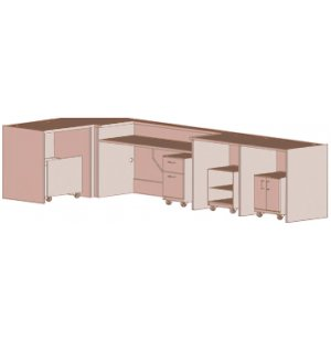 Ultima Modular Library Circulation Desk with Mobile Storage