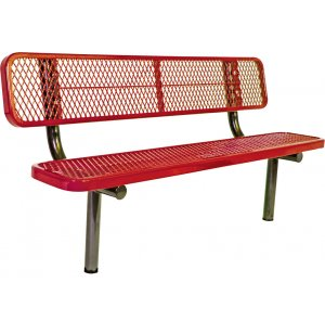 Children's 3' In-Ground Bench w/Back w/Diamond Mesh Surface
