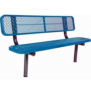 6' Team Bench with Back, Diamond Cut Surface