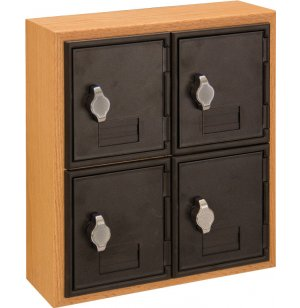 Cell Phone Lockers - Wood Frame, 4 Doors, Hasp Lock
