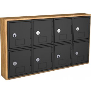 Cell Phone Lockers - Wood Frame, 8 Doors, Keyed Lock