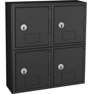 Cell Phone Lockers - Black Frame, 4 Doors, Keyed Lock