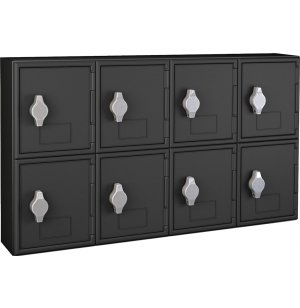 Cell Phone Lockers - Black Frame, 8 Doors, Hasp Lock