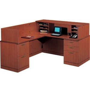 L Reception L-Shaped Office desk-Full Pedestal
