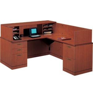 R Reception L-Shaped Office Desk-Full Pedestal