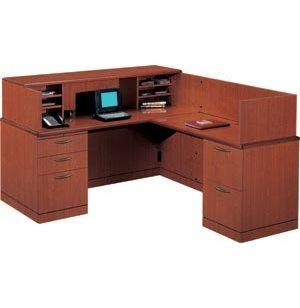 R Reception L-Shaped Office Desk-Full Pedestal