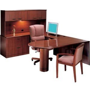 L Peninsula U-Shaped Desk with Full-Pedestal