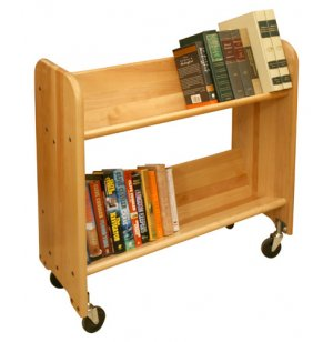 Wood Book Cart - 2 Tilted Shelves in Birch