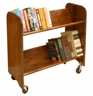 Wood Book Cart - 2 Tilted Shelves in Walnut