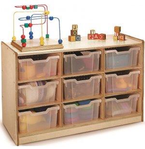 Classroom Cubby Storage w/ 9 Clear Cubby Bins