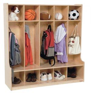 Wood Preschool Locker - 5-Section, Offset Edge