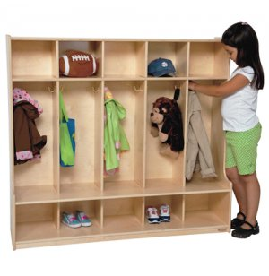 Wood Preschool Locker - 5-Section, Offset Edge