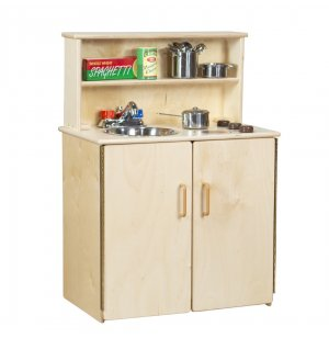 WD 3-N-1 Wooden Play Kitchen Set with Tip-Not Doors
