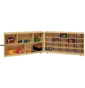 Mobile Cubby Storage w/ 5 Shelves, 20 Clear Cubby Bins