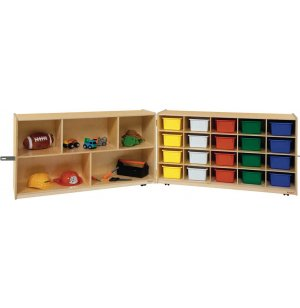 Mobile Cubby Storage w/ 5 Shelves, 20 Colored Cubby Bins