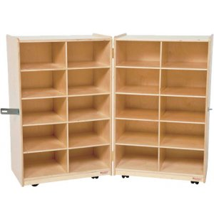 Folding Mobile Cubby Storage - 20 Cubbies