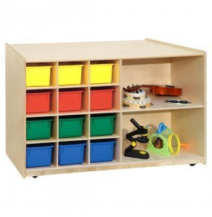 Double-Sided Classroom Cubby Storage w/ Colored Cubby Bins