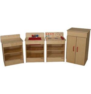 Wooden Toddler Play Kitchen Set - 4 Appliances