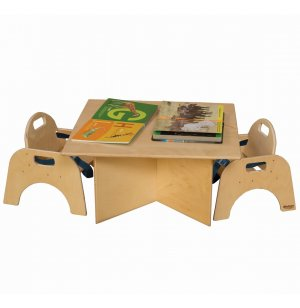 Woodie Wooden Toddler Classroom Table with X-Base