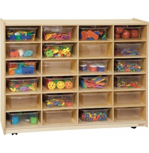 24 Larger Tray Storage Unit with Clear Trays