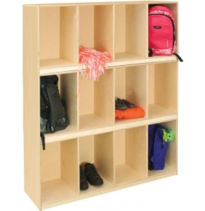 Stackable Open Wood Preschool Lockers - 4-Compartment