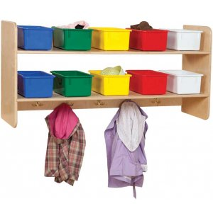 Wooden Wall Locker w/ 10 Colored Cubby Bins