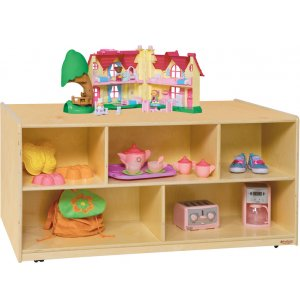 Mobile Double-Sided Wooden Cubby Storage