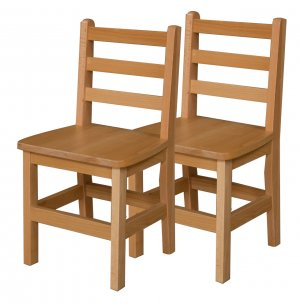 Ladder Back Wooden School Chair - Set of 2