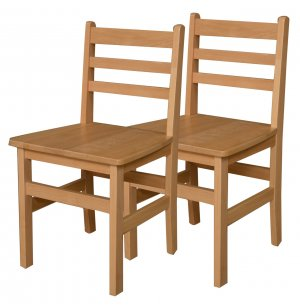 Ladder Back Wooden School Chair - Set of 2