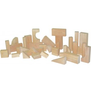 Hardwood Blocks Toddler Set of 36 in 13 Shapes