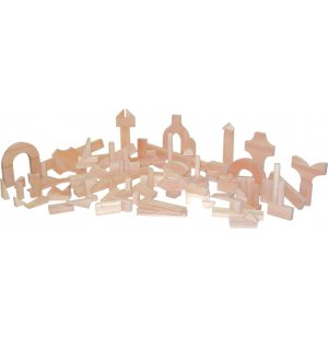 Hardwood Blocks Preschool Set of 111 in 24 Shapes