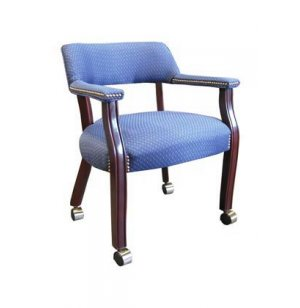 Traditional Fabric Captain Chair - Casters
