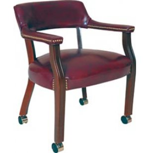 Traditional Leather Captain Chair - Casters