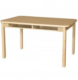 Four-Student Laminate Student Desk with Hardwood Legs